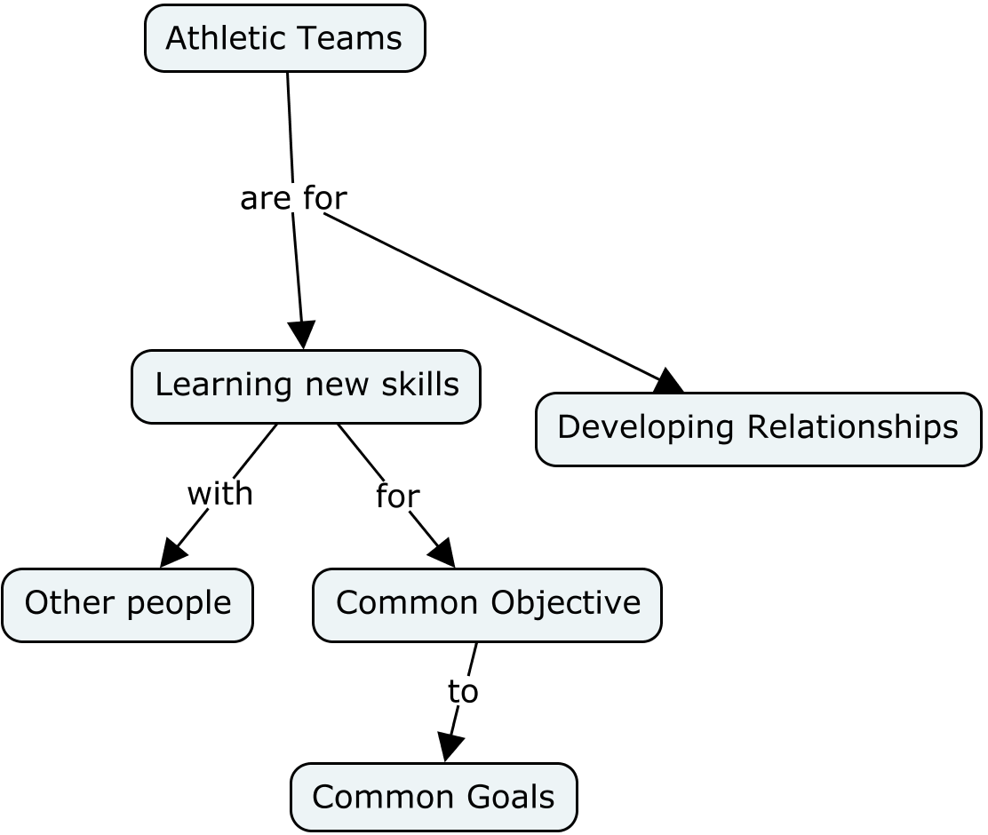Concept map of purpose of athletic teams